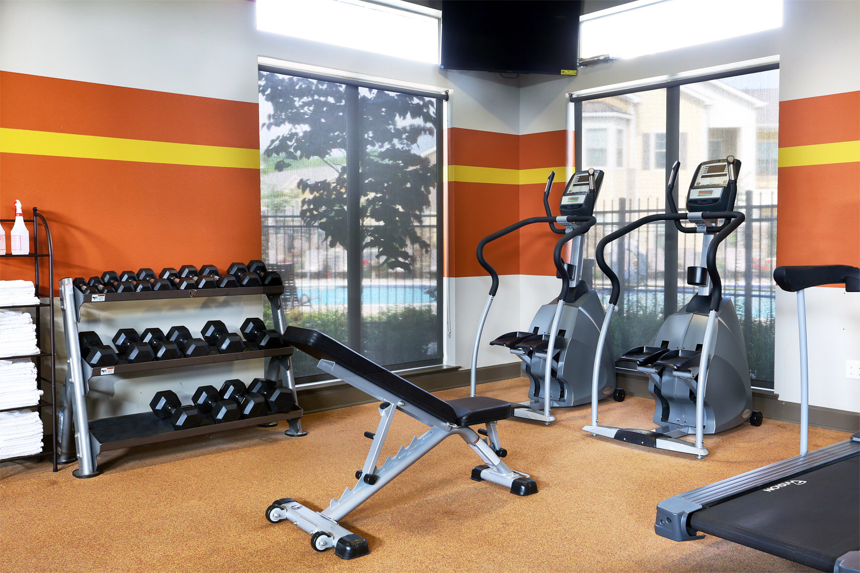 gym at luxury apartments